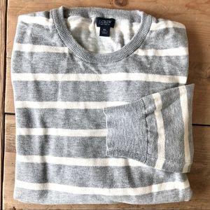 J. Crew Gray Striped Cotton Sweater men's XL